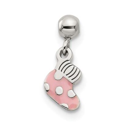 Picture of Sterling Silver Mio Memento Pink Enamel Dangle Baby Sock Charm