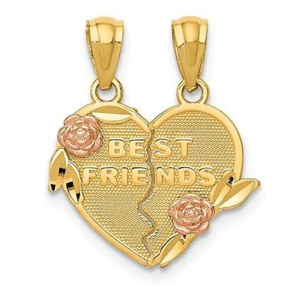 Picture of 14k Two-tone Best Friends break apart Heart Pendant
