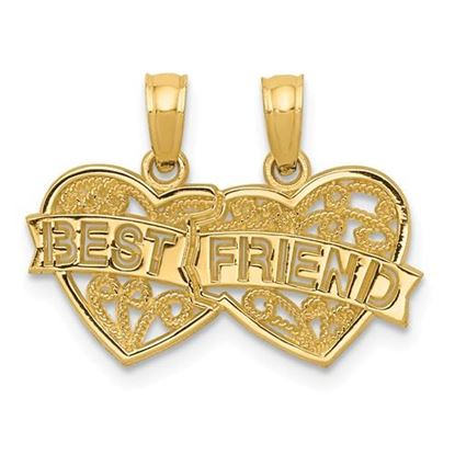 Picture of 14k Yellow Gold Best Friend Breakable Double Hearts Pendant