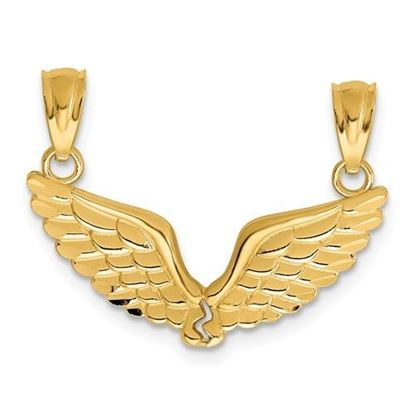 Picture of 14k Yellow Gold Polished Break Apart Angel Wings Pendant