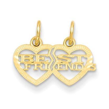 Picture of 14k Yellow Gold Double Heart Best Friends Break-apart Charm