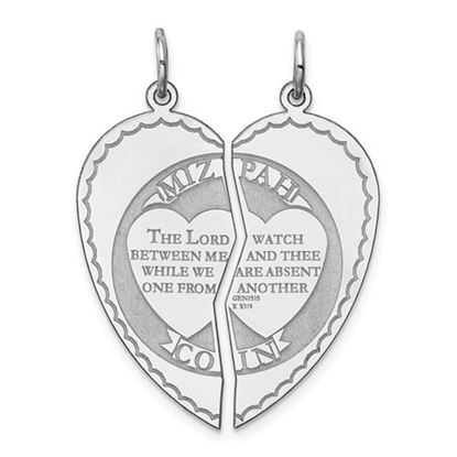 Picture of Sterling Silver Rhodium-plated Break apart Mizpah Charm
