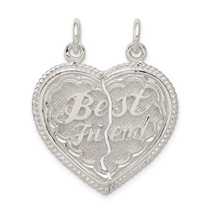 Picture of Sterling Silver Best Friend 2-piece break apart Heart Charm