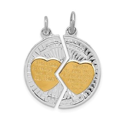 Picture of Sterling Silver Rhodium-plated and Gold-plated Polished Mizpah 2-piece Pendant