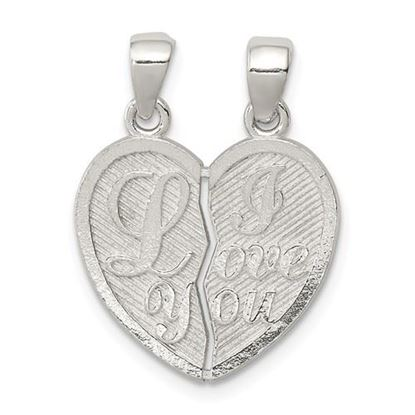 Picture of Sterling Silver Polished Mini I Love You Break Apart Heart Pendant