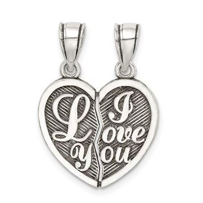 Picture of Sterling Silver Antiqued Mini I Love You Break Apart Heart Pendant