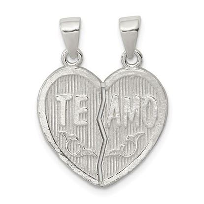 Picture of Sterling Silver Polished Te Amo Break Apart Heart Pendant