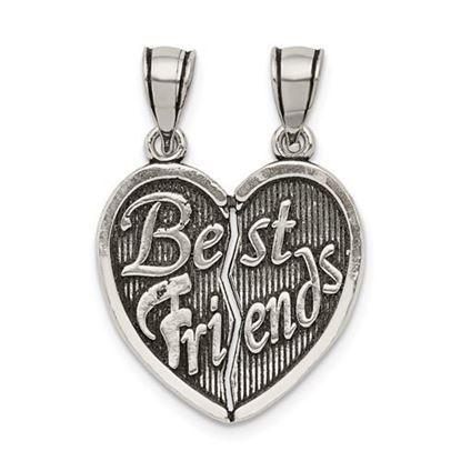 Picture of Sterling Silver Antiqued Best Friends Break Apart Heart Pendant