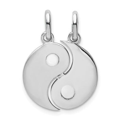 Picture of Sterling Silver Rhodium-plate Brush and Polished Yin Yang Break Apart Pendant
