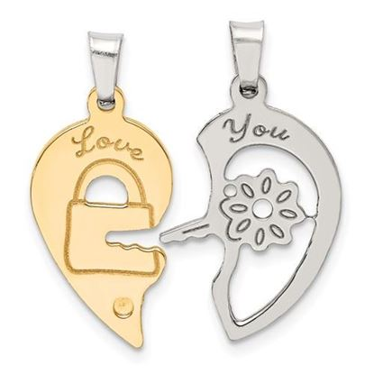 Picture of Sterling Silver Ruthenium and Gold tone Heart Key Break apart Pendant