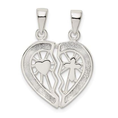 Picture of Sterling Silver Glitter Infused Break Apart Heart Pendant