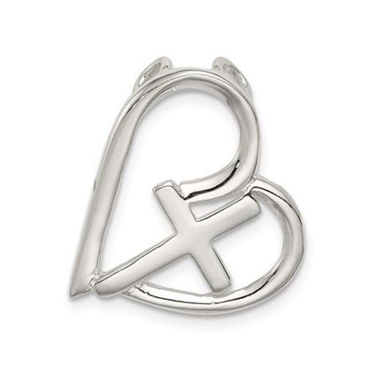 Picture of Sterling Silver Polished Cross Heart Chain Slide