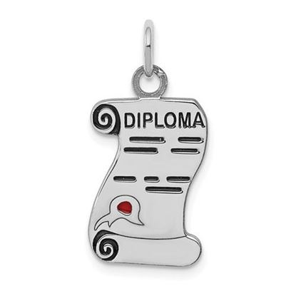 Picture of Sterling Silver Rhodium-plated Diploma Polished Charm
