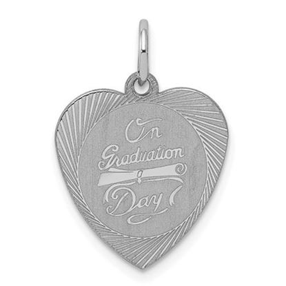 Picture of Sterling Silver Rhodium-plated On Graduation Day Heart Disc Charm