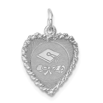 Picture of Sterling Silver Graduation Cap and Diploma Polished Disc Charm