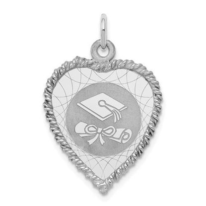 Picture of Sterling Silver Rhodium-plated Graduation Cap and Diploma Disc Charm