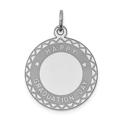 Picture of Sterling Silver Rhodium-plated Happy Graduation Disc Charm