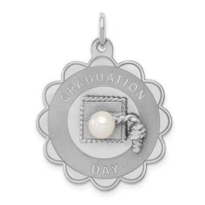 Picture of Sterling Silver Rhodium Graduation Day Disc with FW Cultured Pearl Charm