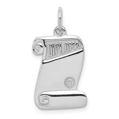 Picture of Sterling Silver Rhodium-plated Diploma Charm