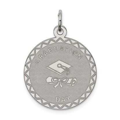 Picture of Sterling Silver Rhodium-plated Graduation Day Disc Charm