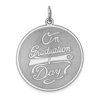 Picture of Sterling Silver Rhodium-plated On Graduation Day Disc Charm