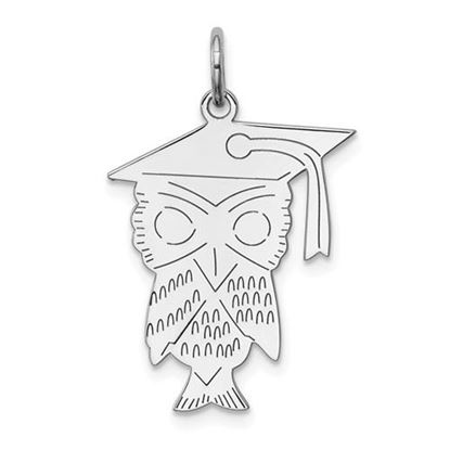 Picture of Sterling Silver Rhodium-plated Owl Polished Charm