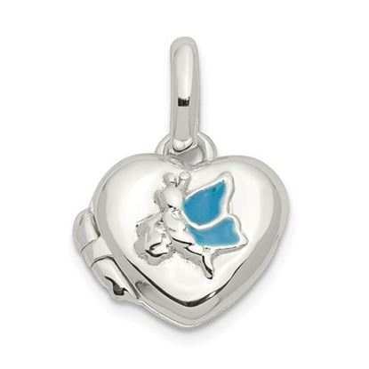 Picture of Sterling Silver Blue Enamel Heart Locket