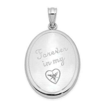 Picture of Sterling Silver Rhodium-plated Diamond Forever in My.. Oval Open Locket