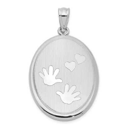 Picture of Sterling Silver Rhodium-plated Polished Hands and Hearts Oval Open Locket