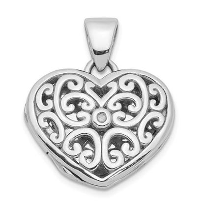 Picture of Sterling Silver Rhodium Plated Diamond Heart Locket