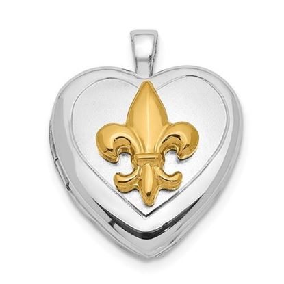 Picture of Sterling Silver Rhodium-plated and Gold Tone Fleur De Lis Locket