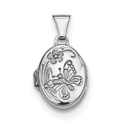 Picture of Sterling Silver Rhodium-plated Butterfly Oval Locket