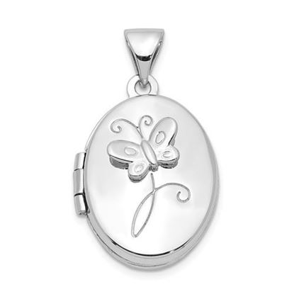 Picture of Sterling Silver Rhodium-plated 17x14mm Butterfly Locket