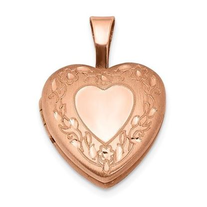 Picture of Sterling Silver Rose Gold-plated Flower Border 12mm Heart Locket