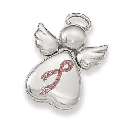 Picture of Sterling Silver Polished Enameled Angel Heart Chain Slide Locket