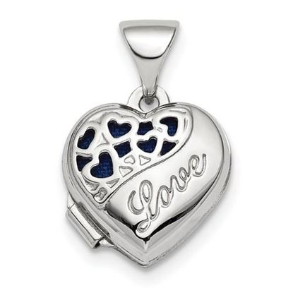 Picture of Sterling Silver Rhodium-plated Polished Mini Love Heart Locket