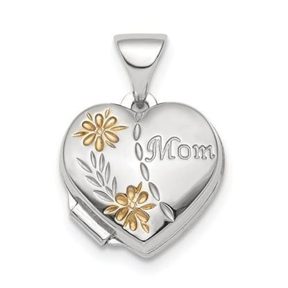 Picture of Sterling Silver Rhodium-plated and Gold-tone Floral Mom Heart Locket