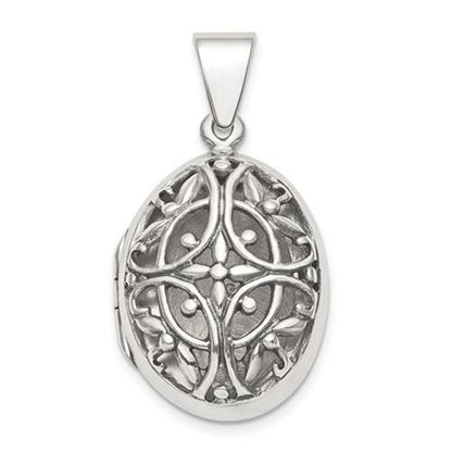 Picture of Sterling Silver Polished Filigree 17mm Oval Locket