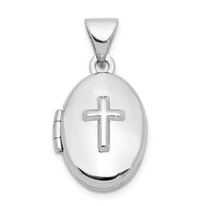 Picture of Sterling Silver Cross 16mm Oval Locket