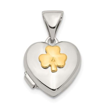 Picture of Sterling Silver Yellow Rhodium 11mm Clover Heart Locket