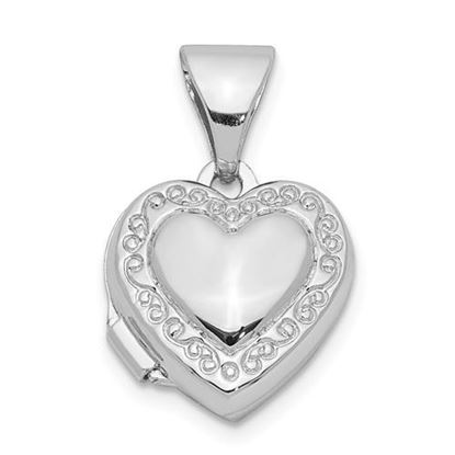 Picture of Sterling Silver Rhodium-plated 10mm Heart Locket