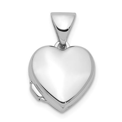 Picture of Sterling Silver Rhodium-plated Polished 10mm Heart Locket