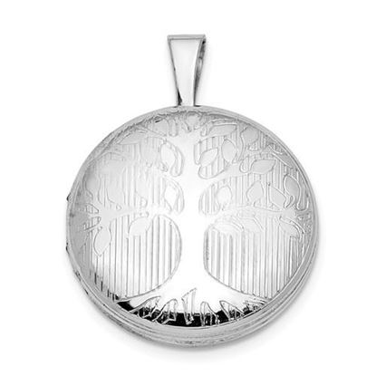 Picture of Sterling Silver Rhodium-plated Round Tree Design Locket