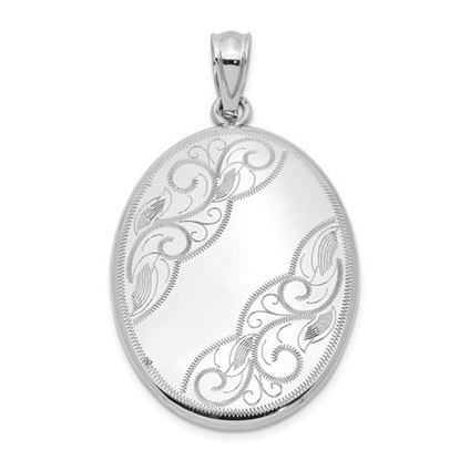 Picture of Sterling Silver Rhodium-plated Polished and Oval Open Locket