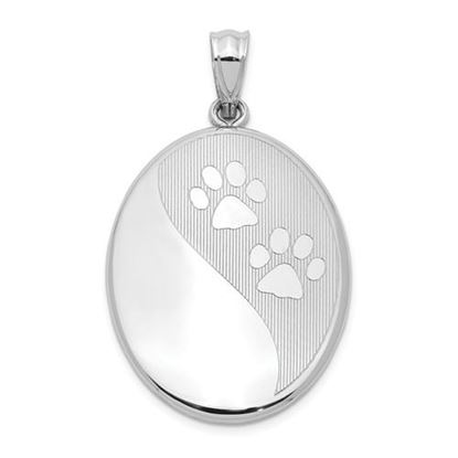 Picture of Sterling Silver Rhodium-plated Polished Paw Prints Oval Open Locket