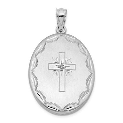 Picture of Sterling Silver Rhodium-plated Diamond Brushed Cross Oval Open Locket