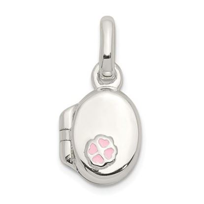 Picture of Sterling Silver Pink Enamel Oval Flower Locket Pendant