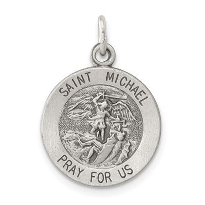 Picture of Sterling Silver Antiqued Saint Michael Medal