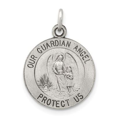 Picture of Sterling Silver Antiqued Guardian Angel Medal