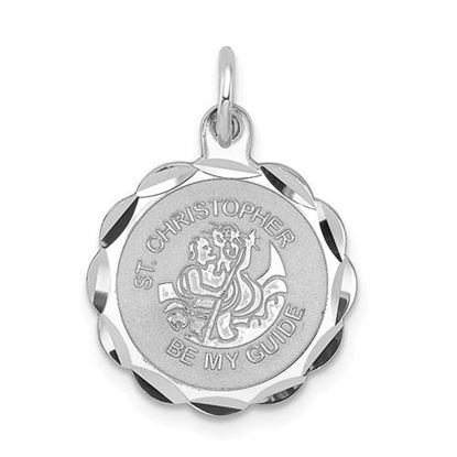 Picture of Sterling Silver Rhodium-plated St. Christopher Medal Charm